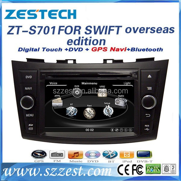 ZESTECH OEM CE certification and 7 inch double din CAR DVD player for SUZUKI SWIFT with GPS+DVD+RADIO+USB/SD + A/V In/out