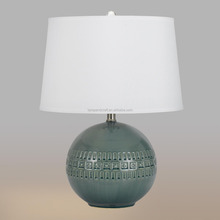 Hot selling AU style CE ROHS UL modern Slate Blue Ceramic Ava Table Lamp pattern for bedroom with white hardback linen shade