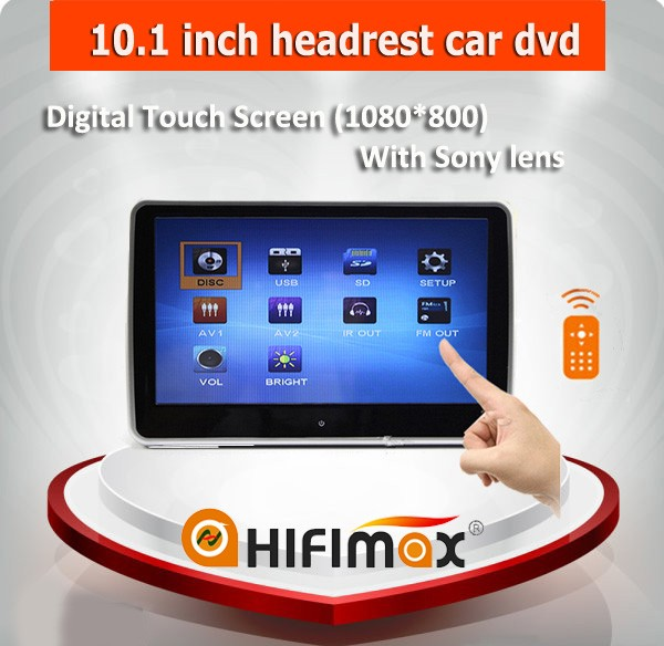Hifimax 10 inch car headrest monitor car headrest dvd with Touch screen