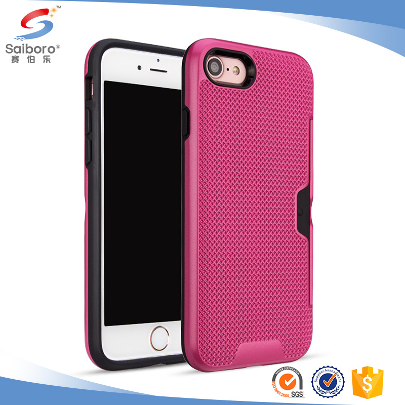 Plastic Brush Card Slot Rubber Rugged Protective Case For Iphone 6plus