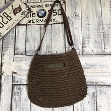 KEREN recycled brown paper wheat summer straw beach bag s