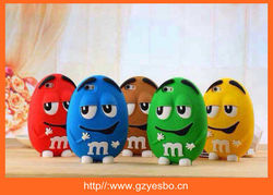 m&m soft 3D m chocolate bean silicone case for iphone 6 M&M's Phone Case can stand