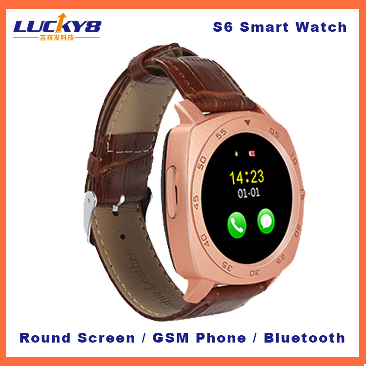 S6 waterproof smart watch mobile phone, MTK6261 Touch screen Bluetooth Smart watch sim card with whatsapp and facebook