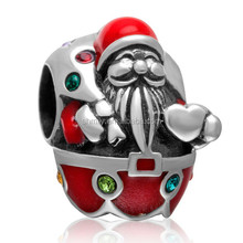 Red Enameled Zircon Pave Santa Claus Large Hole Authentic 925 Sterling Silver European Charm Beads Christmas Gifts SEPB2101