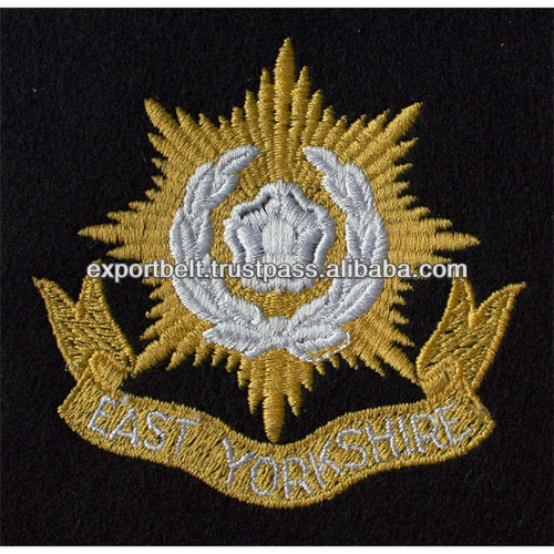 gold thread machine embroidery patch | machine embroidered patch
