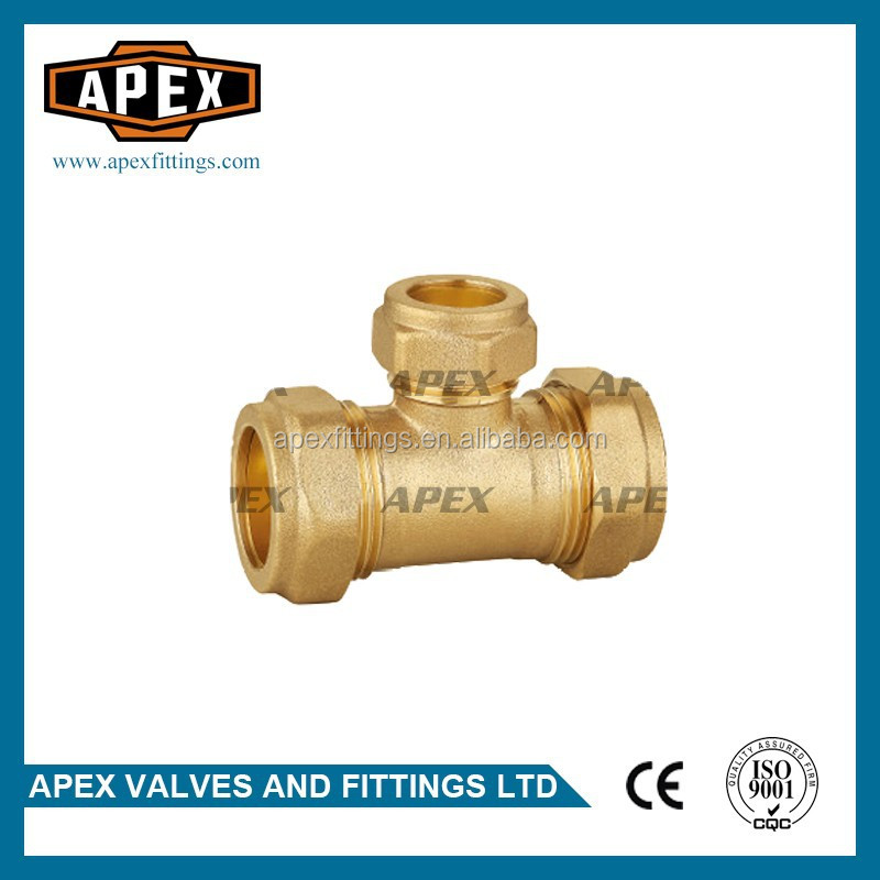 APEX Brass Compression Reducing Tee Fitting