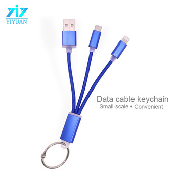 Universal keychain nylon fast charging USB charger charging cable for iphone micro