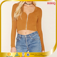 2016 Custom design zipped Sweater-Knit Crop Top OEM available New Arrival
