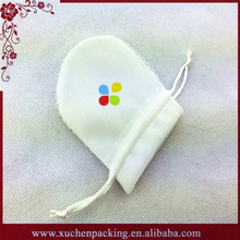 New Coming White Drawstring Small Round Velvet Ring Pouch With Lace