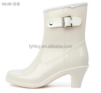 mid ladies pvc white rain boots latest design women high heel shoes