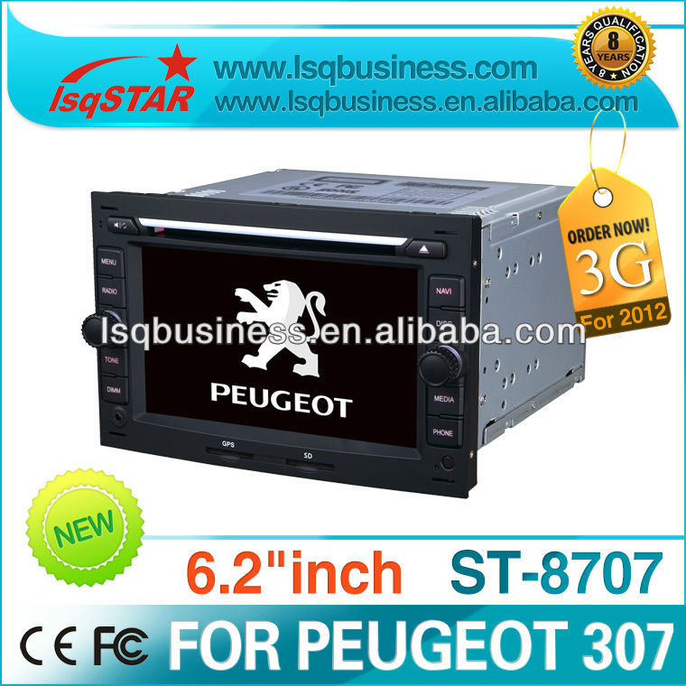 DVD player for PEUGEOT 307 accessories with GPS 3G MP3 SD iPod USB CDC radio fm,ST-8707