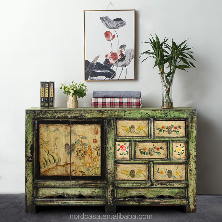 factory price reproduction solid wood hand painting chinese antique style furniture cabinet