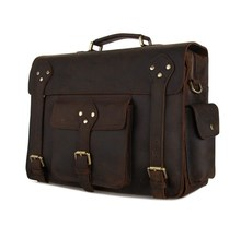 7200R The Best Crazy Horse Messeneger Bag Brown Briefcase Leather Bag For Successful Men