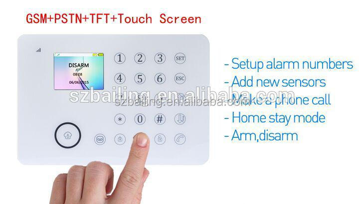 Motion Alarm 6 Languages TFT Touch Screen WIFI PSTN GSM Alarm System