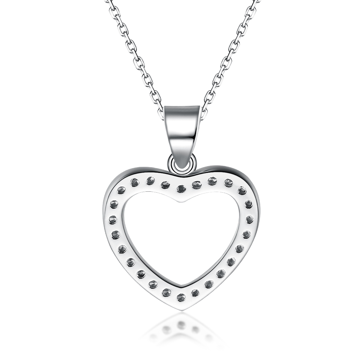 Wholesales Silver Heart Shaped Diamond Necklace