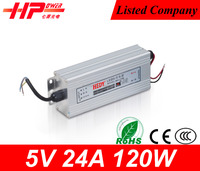 Guangzhou fcatory high quality rainproof constant voltage single output type smps 120w 5 amperes 110v ac to 24v dc power supply