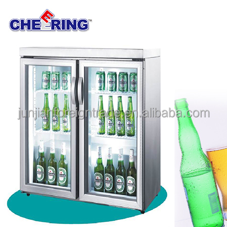 guangzhou manufacturer refrigeration equipment TG-200M2 glass showcase stainless steel 2 door mini bar fridge for beer