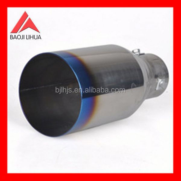 2.5'dia inlet silver tone titanium blue tail exhaust pipe tail muffler tip