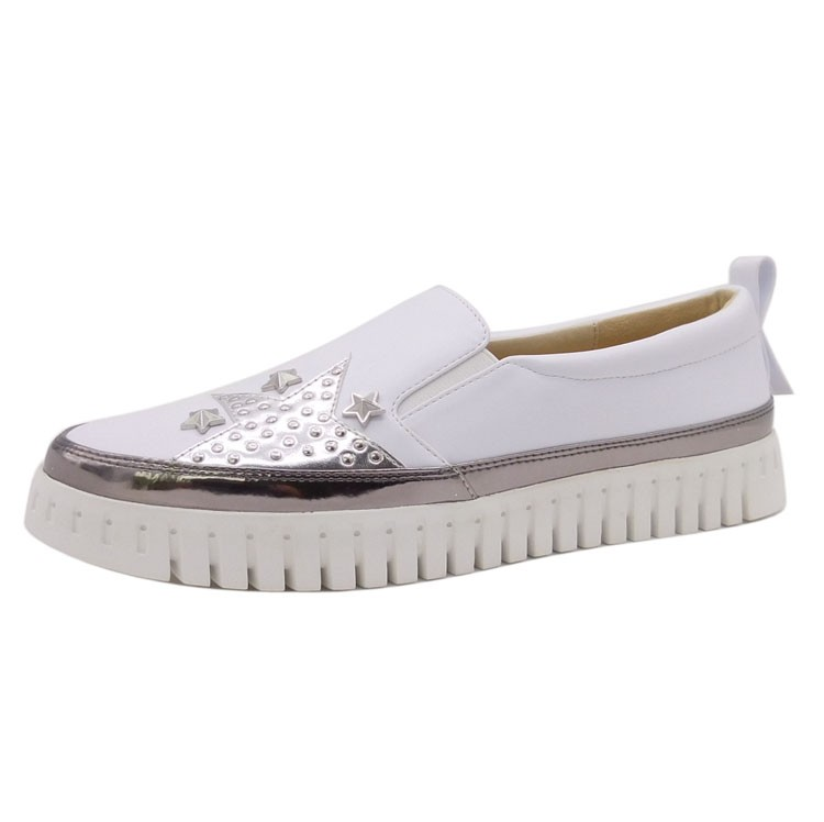 Comfortable and fashion ladies white shoes slip on with studded star embellished casual sneakers