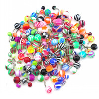 Multi color Acrylic Ball and Steel pole Non-Dangle Belly Button Naval Ring.