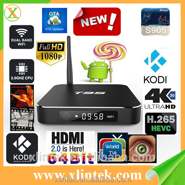 2016 Wholesale Android Smart TV Set Top BOX Metal Case T95 Amlogic S905 Quad core Android 5.1 TV BOX