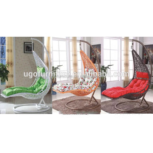 New design outdoor garden patio beach furniture poly wicker rattan adult hanging swing egg chair