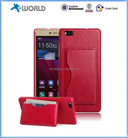 Wholesale price in store pu leather skin stand cellphone case for Huawei P8