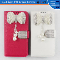 High Quality Lichee Pattern Wallet Flip Cover For Samsung S4 I9500 Pearl Bowknot Leather Flip Case For Galaxy S4