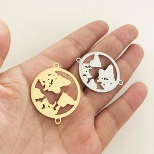 Custom Stainless Steel Gold World Map Pendant Travel Globe Earth Pendant World Charms DIY jewelry Making For Bracelet
