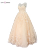 LS69632 champagne big flowers skirt real alibaba guangzhou applique full skirt simple bride wedding dress