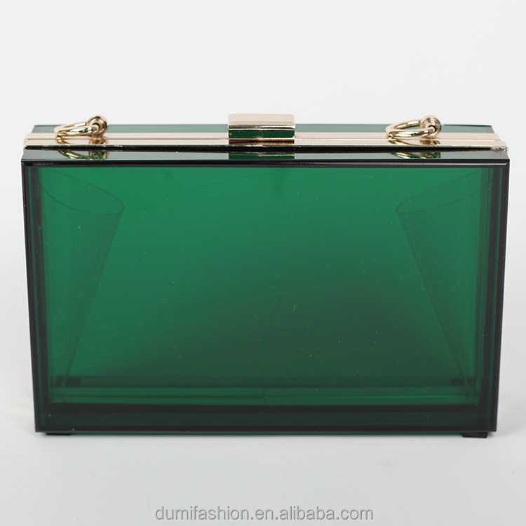 Factory Wholesale Clear Transparent acrylic box clutch with metal frame