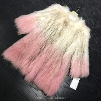 2017 new fashion knitted natural racoon fur coat with gradient color