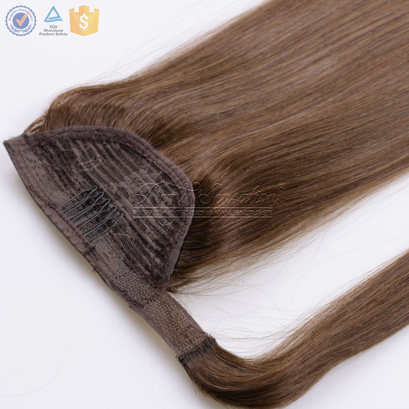 Human hair extension wrap ponytail single/double drawn