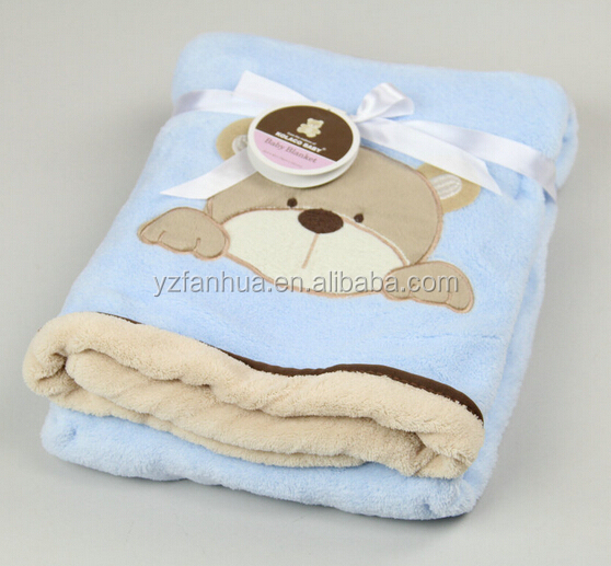 Heathy Cotton Muslin Swaddle Baby Flannel Sherpa Fleece Blanket With TEX Certification