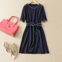 2016 latest design autumn elegance knit embroider short sleeve bandage bowknot belt bodycon sexy ladies A line midi dresses