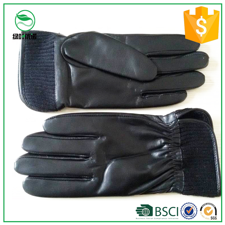 Hot-sellining Men's Black Leather Gloves for Motorbike Sheepskin Leather Gloves for Driving