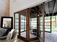 China's supplier aluminum clad wood glass folding door