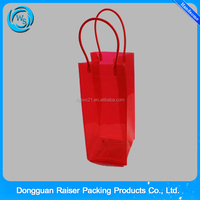 2015 new design clear PVC side gusset and pipe handle single wine cooler bag
