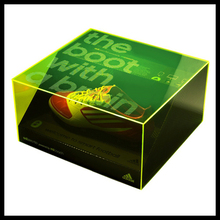 green color acrylic shoes box, acrylic shoes display box