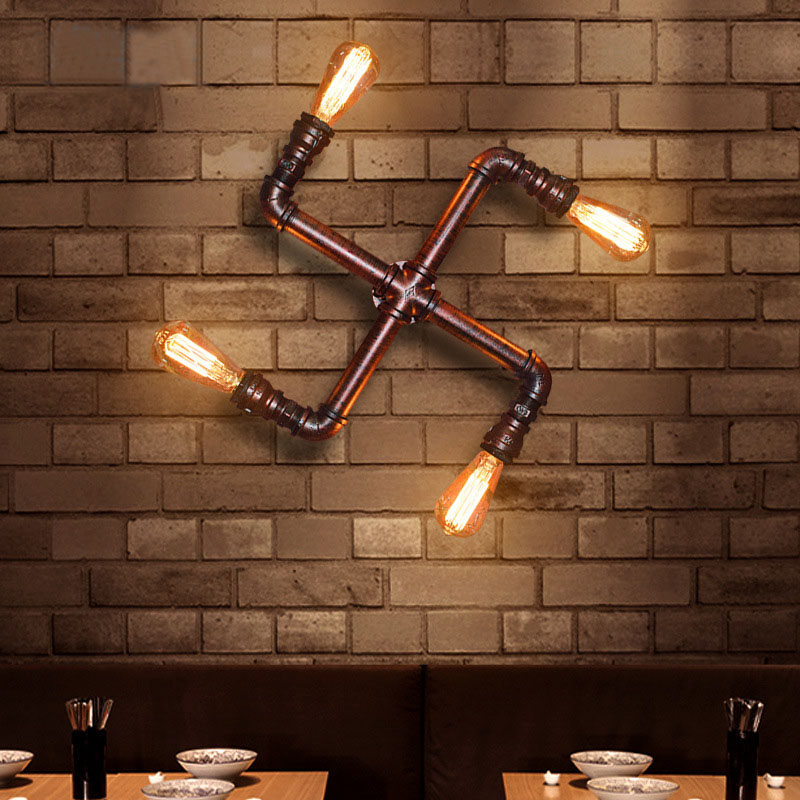 Vintage Retro Water Pipe Industrial sconces wall lamp with 5pcs 40W ST64 Bulbs 120V 240V Free shipping