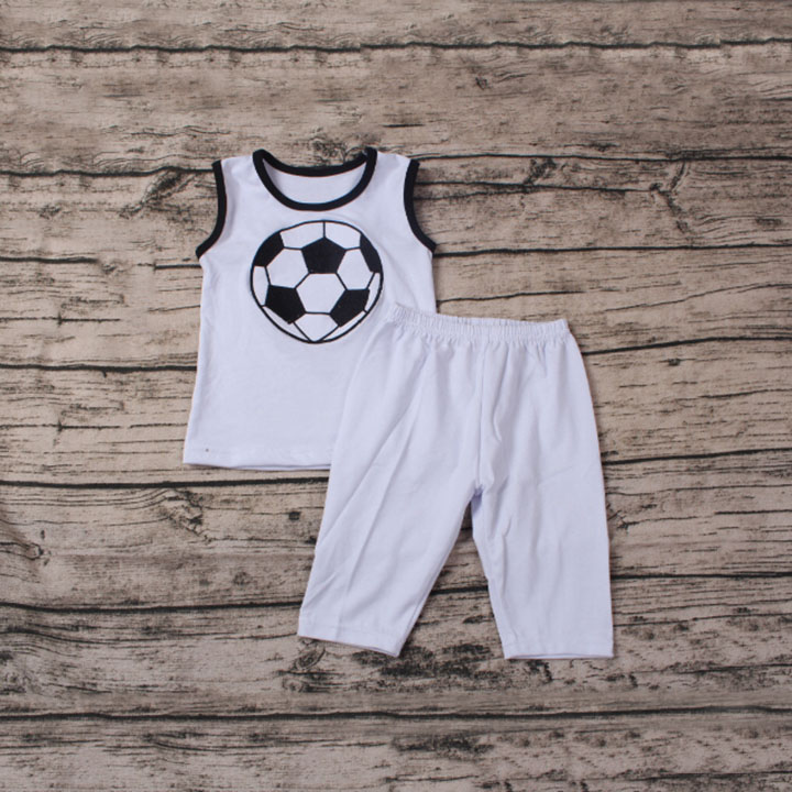 2016 white sleeveless soccer embroidery tops and icing shorts outfits kids school clothes