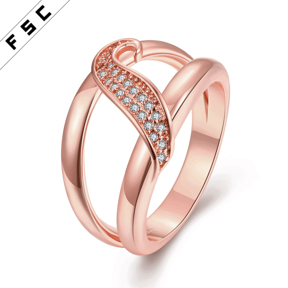 Fashion rose gold plated design zircon diamond top selling hollow out copper ring for women