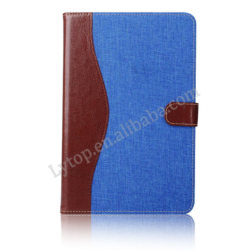 Hot Contrast Color Flip Jeans Flip Stand PU Leather Tablet Case For iPad Mini 4