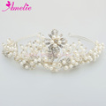 Handmade Pearl Beads with Rhinestone Wedding Hair Accessories Beauty Queen Crowns