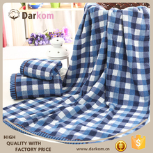Factory direct sale custom blue lattice jacquard cotton bath towel
