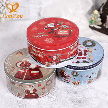 Biscuit tin food grade empty metal can custom printed christmas cookie tin box