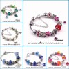 European 925 Silver snake Chain Bracelet For Women With heart Charm Murano Glass Beads Christmas Jewelry