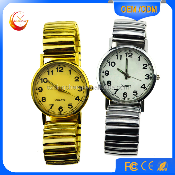 Wholesale fashion stainless steel back gold geneva watch men