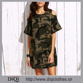 New arrivals Summer girls casual sexy Army Green Open Cold Shoulder Camo Tee Dress