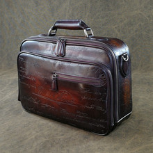 Handmade premium genuine leather High end business man large travel bag hard leather briefcases fit in Draw bar box